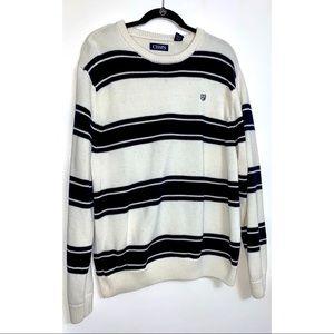 Chaps Men's White & Black Striped Sweater